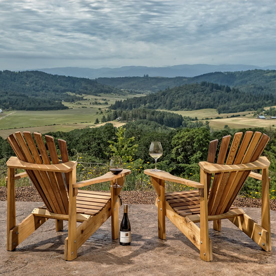 adirondack chairs with view