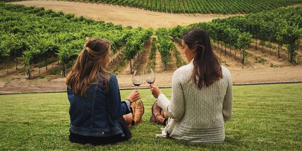 Women sampling Oregon Pinot Noir Wine